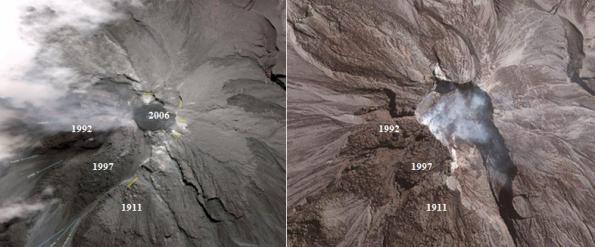 Gambar 3. Perubahan morfologi puncak Gunung Merapi antara sebelum 2010 (kiri) dan setelah 2010 (kanan) berdasarkan citra satelit. Angka menunjukkan lokasi kubah lava produk tahap letusan tertentu (misalnya 2006 berarti kubah lava produk tahap letusan 2006). Sebelum 2010, puncak dipenuhi tonjolan kubah lava di sana-sini tanpa adanya kawah. Pasca 2010 sejumlah kubah lava lenyap seluruhnya/sebagian, digantikan oleh kawah seukuran 600 meter yang terbuka ke tenggara. Perubahan inilah yang mempengaruhi sifat-sifat Gunung Merapi pasca 2010. Sumber: BPPTK, 2007; BPPTKG, 2013.