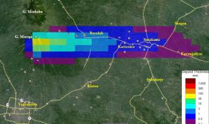 Gambar 2. Sebaran debu vulkanik dari Gunung Merapi menyusul kejadian Senin pagi 18 November 2013. Debu melampar hingga sejauh hampir 70 km dari kawah Merapi. Sumber: BPPTKG, 2013.