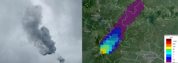Gambar 5. Erupsi freatik Merapi pada 12 Desember 2013 namun intensitasnya lebih kecil dibanding erupsi 18 November 2013. Kiri: kolom erupsi seperti teramati dari pos Jrakah, membumbung setinggi 500 meter dari puncak ke arah timur. Kanan: peta sebaran debu vulkanik erupsi freatik 12 Desember 2013 yang dominan ke arah timur laut. Sumber: BPPTKG, 2013.