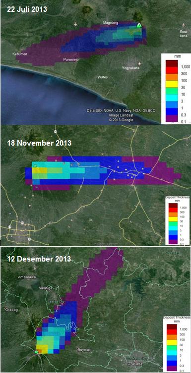 Gambar 4. Peta sebaran debu tiga peristiwa erupsi freatik Merapi yang berbeda, masing-masing erupsi 22 Juli 2013 (atas), erupsi 18 November 2013 (tengah) dan erupsi 12 Desember 2013 (bawah). Karena hembusan angin pada tiap kejadian erupsi freatik itu berbeda-beda, maka arah dan distribusi debunya pun berbeda-beda. Perhatikan bahwa ketiga peta tidak memiliki skala yang sama. Sumber: BPPTKG, 2013.