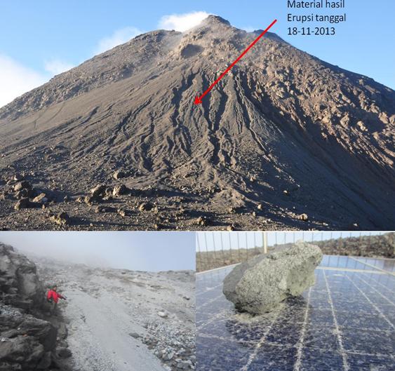 Gambar 1.Beberapa produk erupsi 18 November 2013 yang dijumpai di sekitar puncak Merapi. Atas: Bongkahan batuan beragam ukuran di kaki Gunung Anyar (kawasan Pasar Bubrah). Bawah kiri: pasir di lereng Gunung Anyar. Bawah kanan: kerikil yang mendarat di atas panel surya pada salah satu instrumen pemantau Gunung Merapi. Seluruh produk erupsi bersuhu dinginsehingga memastikan kejadian 18 November 2013 adalah erupsi freatik. Sumber : BPPTKG, 2014.