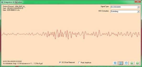 Gambar 5. Sinyal seismik tipe akselerometer (percepatan) yang terekam stasiun Wanagama pada Senin pagi 10 Maret 2014 pukul 07:08 WIB bertepatan dengan erupsi freatik Gunung Merapi, dianalisis oleh Januar Arifin (BMKG) melalui JISView. Nampak getaran yang diduga berasal dari erupsi freatik Gunung Merapi. Sumber: Arifin, 2014.