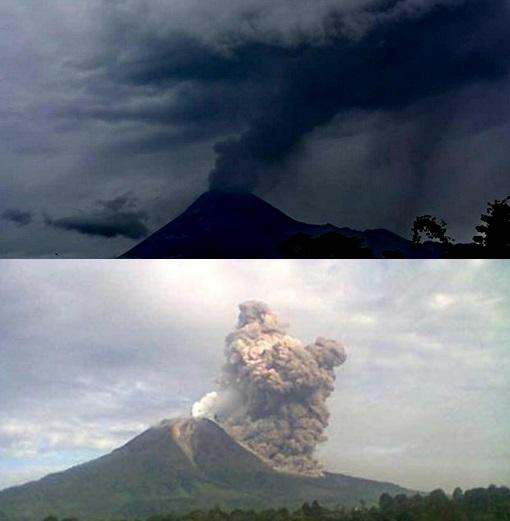 Gambar 1. Perbandingan ketampakan antara erupsi freatik dengan erupsi magmatik. Atas: erupsi freatik Merapi pada 10 Maret 2014 diabadikan dari arah selatan. Nampak asap (kolom erupsi) menghembus ke atas dan kemudian hanyut ke arah timur sembari menurunkan debunya (sebagai hujan debu) di lereng timur. Bawah: salah satu erupsi magmatik di Gunung Sinabung yang terjadi pada 30 Desember 2013. Perhatikan bahwa asap (kolom erupsi)-nya jauh lebih pekat dan lebih bergumpal-gumpal. Perhatikan juga adanya bagian asap pekat yang sedang menuruni lereng sebagai awan panas (wedhus gembel). Sumber: Bambang Mertani, 2014; Badan Geologi, 2014.